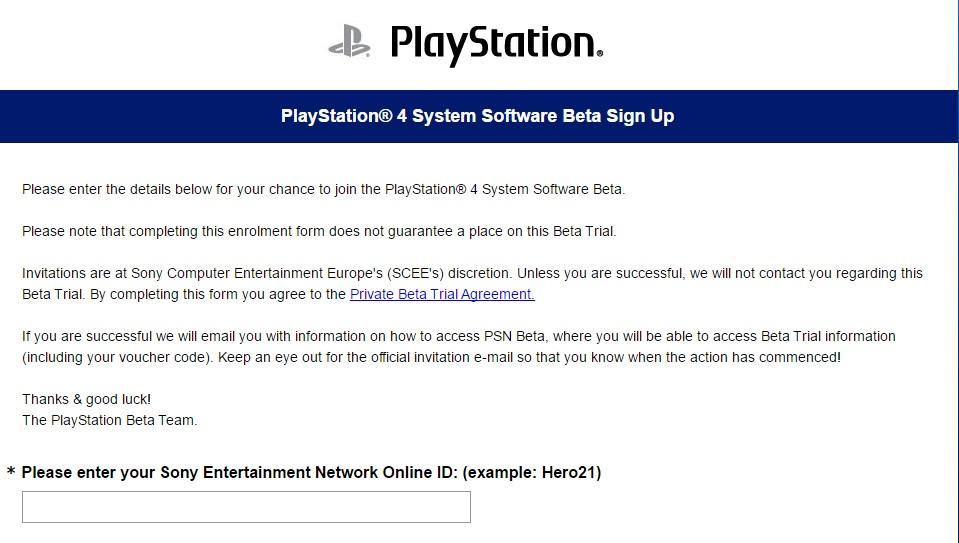 Beta PS4